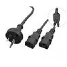 Cabac Y Power Cord CPU & Monitor to One 3 pin (Retail Packaging)