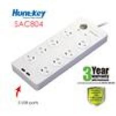 Huntkey 8 Way Powerboard With 2 USB Ports 3YR Warranty