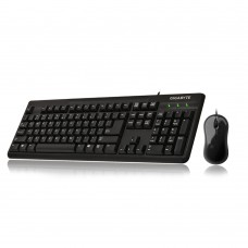 Gigabyte GK-KM3100 Desktop Keyboard & Mouse Combo Set 800dpi Optical USB Wired Spill-Resistant Ergonomic design for both hands Laser engraved keycaps