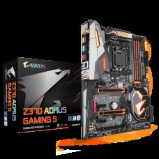 Gigabyte GA Z370 AORUS Gaming 5 LGA1151 8Gen  ATX MB 4xDDR4 6xPCIe DP HDMI 3xM.2 6xSATA3 RAID Intel GbE LAN SLI CF USB-C 6xUSB3.1 RGB WIFI BT