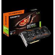 Gigabyte nVidia GeForce GTX 1070 Ti Gaming 8GB PCIe Video Card 8K @ 60Hz 4xDisplays 3xDP HDMI DVI 1721/1632 MHz RGB Windforce 3X Fan